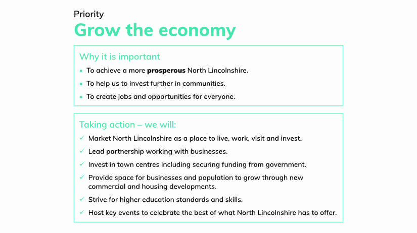 North Lincolnshire COuncil Priority - Grow the Economy