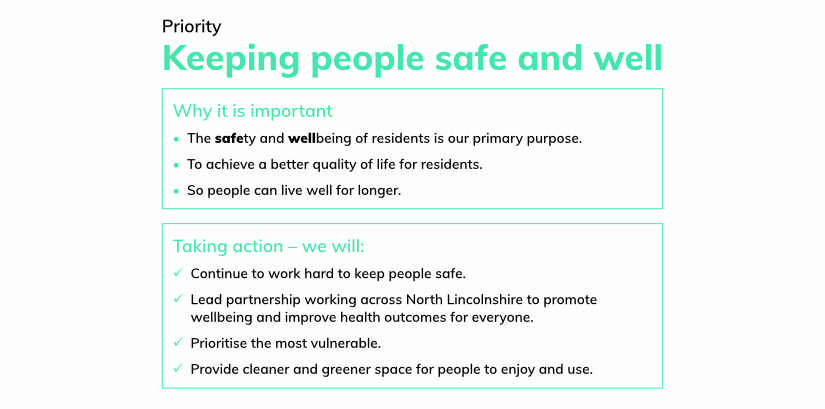 North Lincolnshire COuncil Priority - Keep people safe and well